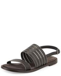 Brunello Cucinelli Monili Trim Leather Flat Sandal Black