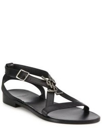 Saint Laurent Nu Pieds Logo Flat Leather Sandal