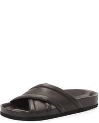 Vince Orson Leather Crisscross Slide Black