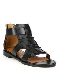 Givenchy Sode Line Leather Flat Sandals