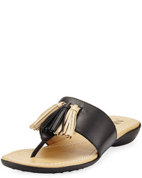 Neiman Marcus Tabina Leather Slide Flat Sandal Black