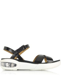 Marc by Marc Jacobs Teck Vacchetta Black Leather Sandal Flat