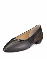 Neiman Marcus Gena Napa Leather Mesh Flat Black