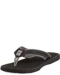 Tommy Bahama Sumatraa Leather Thong Flat Sandal Black