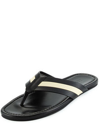 Bally Venzio Calf Leather Thong Sandal Black