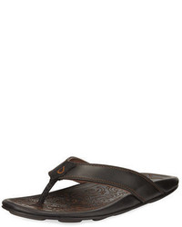 OluKai Waimea Leather Thong Sandal