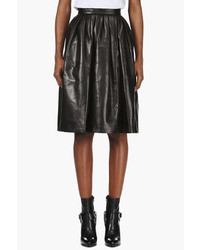 DSquared 2 Black Lamb Leather Full Skirt