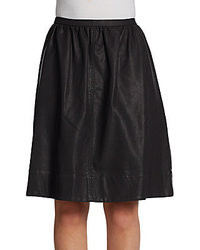 Halston A Line Faux Leather Skirt