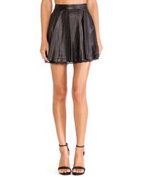 Alice + Olivia Blaise Lace Hem Leather Skirt