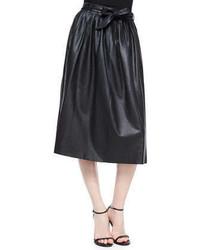 Armani Collezioni Leather Full Skirt Wtie Belt Black