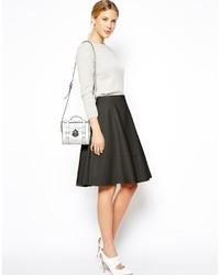 Asos Full Midi Skirt In Leather Look Black