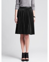 Banana Republic Pleated Black Faux Leather Skirt