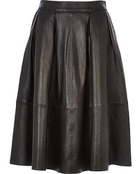River Island Black Leather Full Midi Skirt