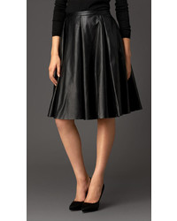 Burberry Gather Detail Leather Circle Skirt