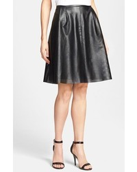 Calvin Klein Perforated Faux Leather Skirt Black 6