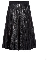 Marc Jacobs Crinkled Leather Pleated Midi Skirt