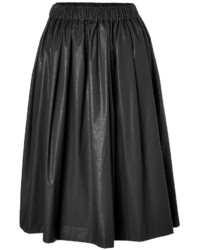 MSGM Faux Leather Midi Skirt