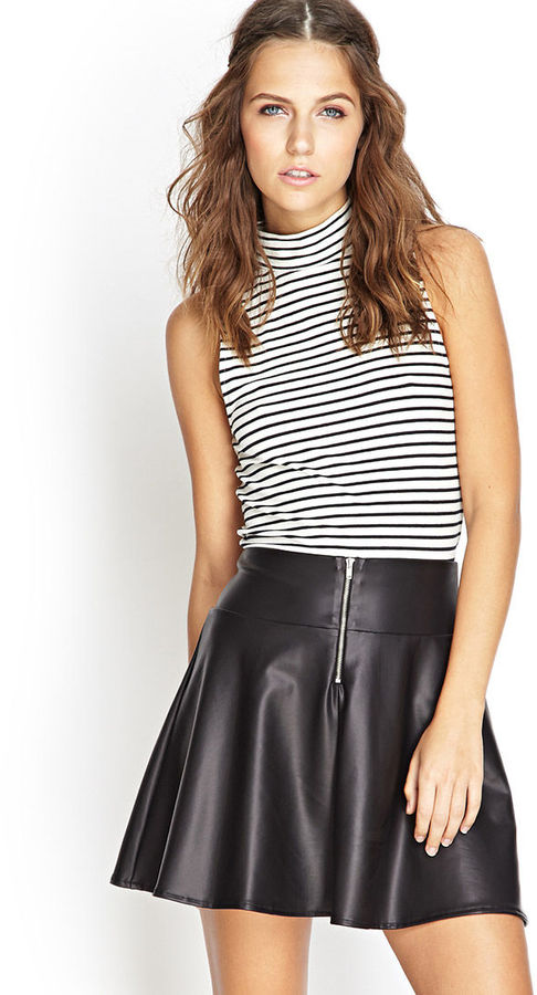 38f8a610fe6d06 Forever 21 Faux Leather Skater Skirt, $12 | Forever 21 | Lookastic.com