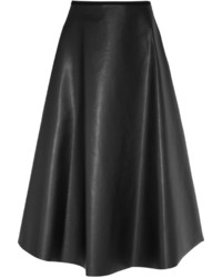 Lanvin Fluted Faux Leather Midi Skirt