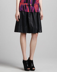 Halston Heritage Mid Length Faux Leather Skirt Black
