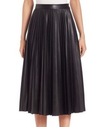 Alexander Wang High Waist Pleated Faux Leather Skirt