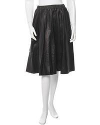 J Brand Leather Midi Skirt