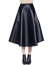 Lanvin Full Leather Midi Skirt Black