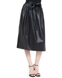 Armani Collezioni Leather Full Skirt Wtie Belt Black