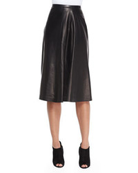 Burberry London Leather Paneled Midi Skirt Black