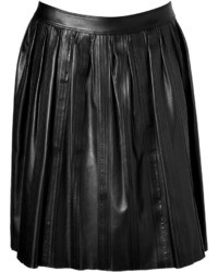 Burberry London Leather Stitched Skirt In Black