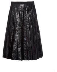 Marc Jacobs Crinkled Leather Pleated Midi Skirt