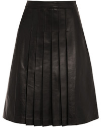 Michl Kors Collection Pleated Leather Skirt