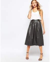 Closet Midi Skirt In Perforated Faux Leather