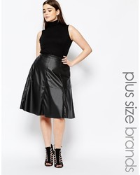 Missguided Plus Leather Look Midi Skater Skirt
