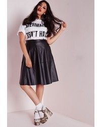 Missguided Plus Size Faux Leather Midi Skater Skirt Black