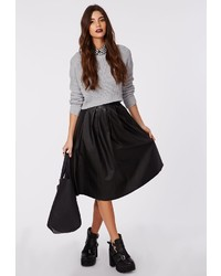 Missguided Rai Faux Leather Full Midi Skirt Black