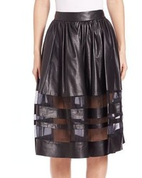 Alice + Olivia Misty Leather Midi Skirt
