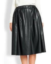 MSGM Faux Leather Full Midi Skirt