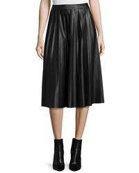 Neiman Marcus Leather Pleated Midi Skirt