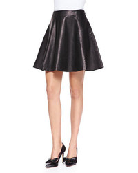 Kate Spade New York Leather Flare Circle Skirt Black