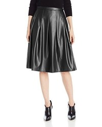 NY Collection Faux Leather Midi Skirt