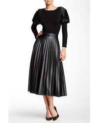 Gracia Pleated Faux Leather Midi Skirt