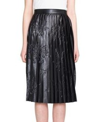 MSGM Pleated Printed Faux Leather Midi Skirt
