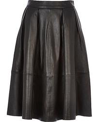 River Island Black Leather Full Midi Skirt