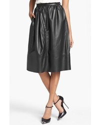 Theory Gelsey Prud Leather Skirt Black 2