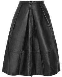 Tibi Pleated Leather Skirt