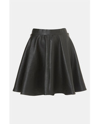 Topshop Andie Faux Leather Skater Skirt Black 6