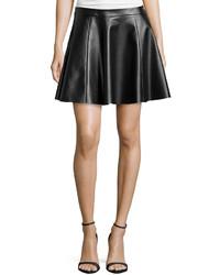 Vakko Faux Leather Circle Skirt Black