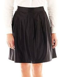 jcpenney Worthington Faux Leather Pleated A Line Skirt