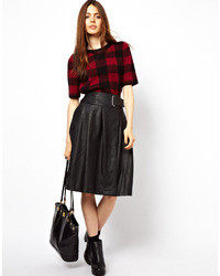 Asos Wrap Kilt In Leather Look